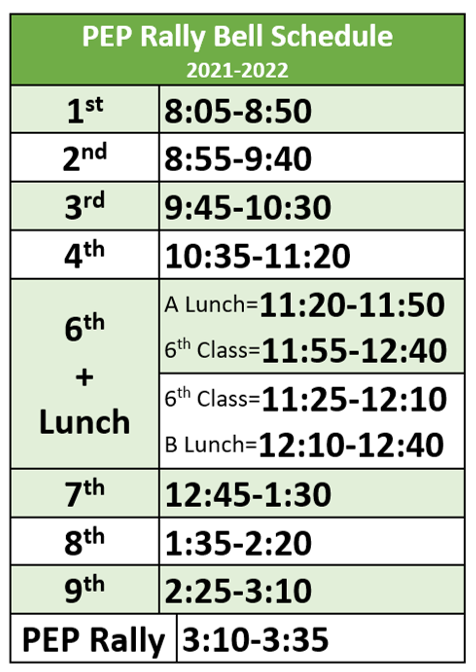 21-22 PEP Rally Schedule