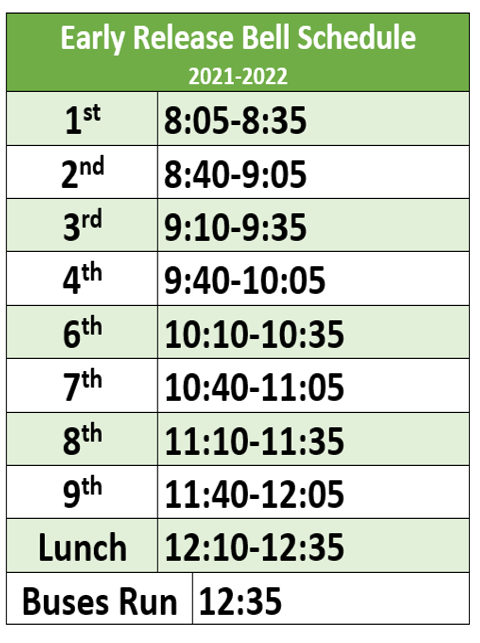 21-22 Early Release Schedule