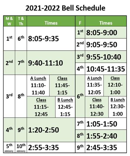 21-22 Bell Schedule Regular