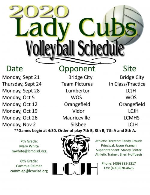2020 Volleyball Schedule