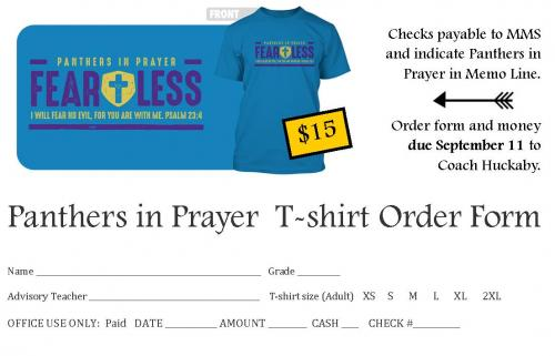 Panthers in Prayer T-shirt Order Form