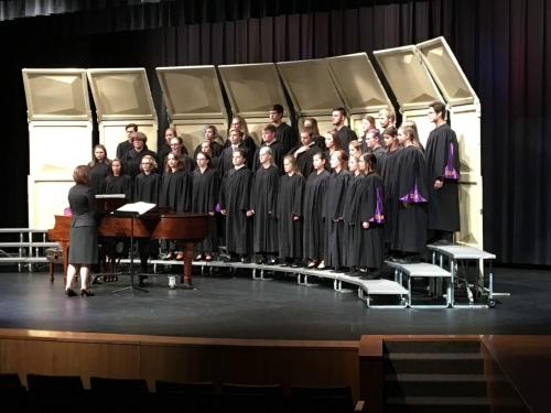 Concert Choir and Madrigals performing at league festival, March 2018. We received straight I ratings (Superior) from all adjudicators