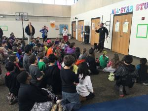 Animal Control Officer Seborn Gregory presented information for students after they collected and presented items for their Act of Kindness