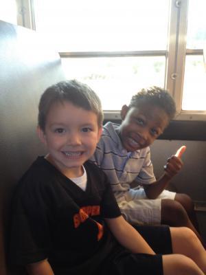 Enjoying the bus ride!