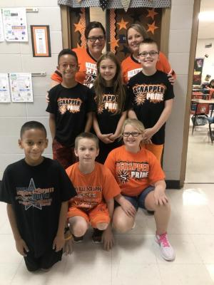 Mrs. Webb and Mrs. Topor's homeroom show their Scrapper Spirit.