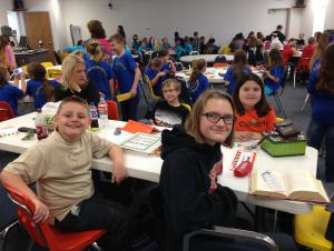 2015 4th Grade Battle of the Books Team preparing for competition in Gillham.