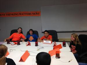 2015 Battle of the Books 5th grade team in competition.