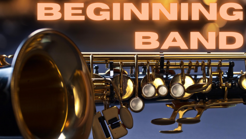 text beginning band with background saxophone