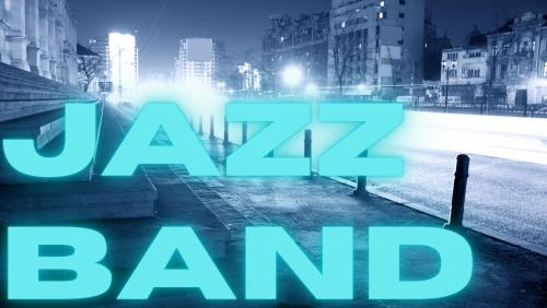 text jazz band on blue cityscape background