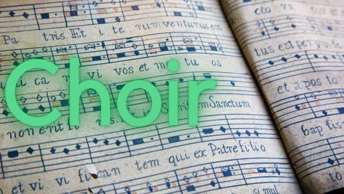 text choir on sheet music background