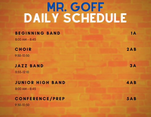 orange brick background with schedule information