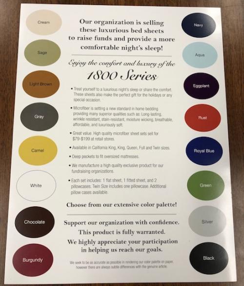 sheet color chart