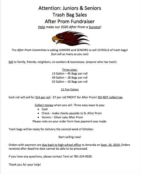 Information form for trash bag fundraiser