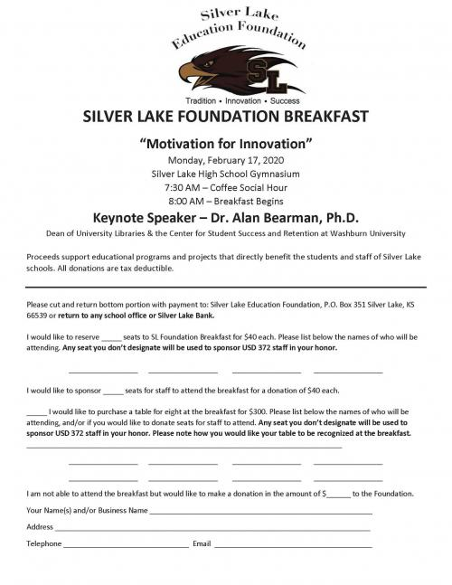 Seat RSVP for Silver Lake Foundation Breakfast