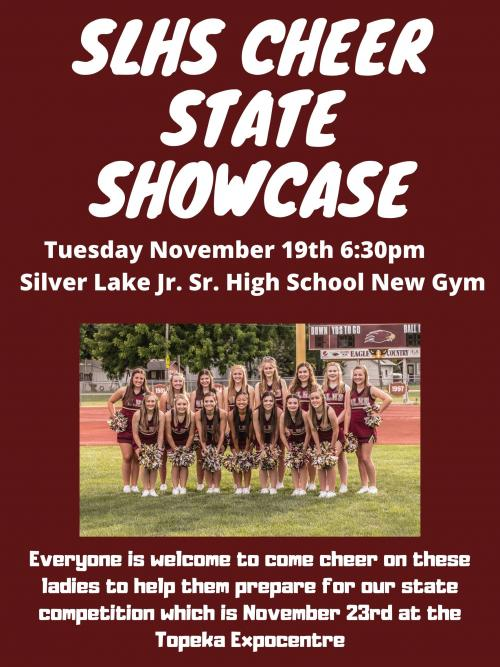 Information about SLHS Cheer State Showcase (6:30 p.m. Tuesday, November 19)