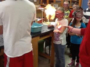 chemistry class demonstration for elementary
