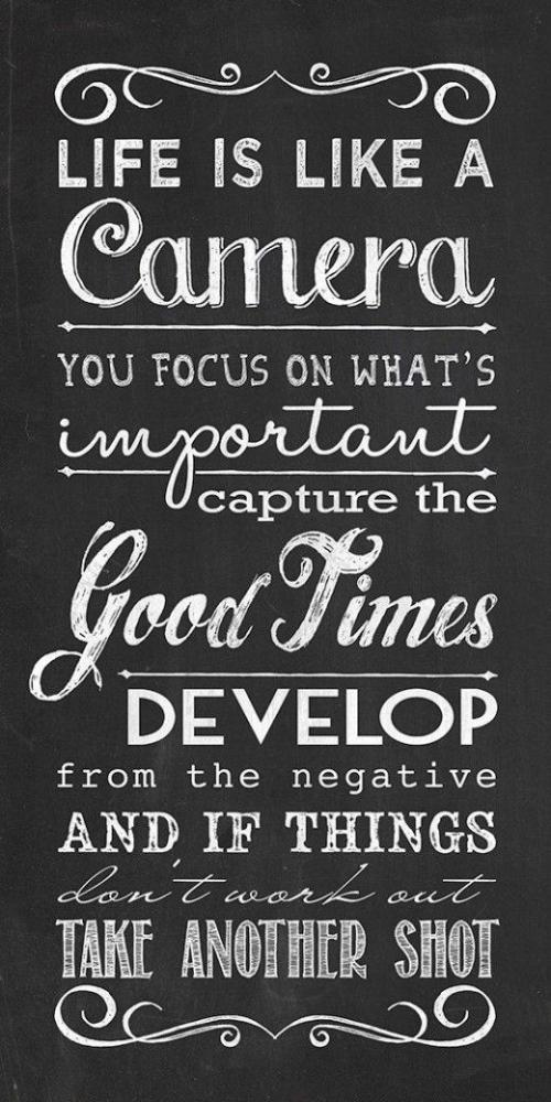 Life is like a camera you focus on what's important capture the good times develop from the negative and if things don't work out take another shot