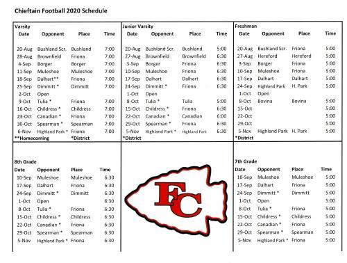 2020 Football Schedule