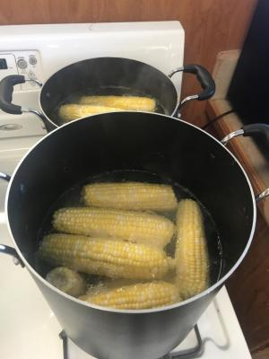 Maize Day's fundraiser - Blanching the corn
