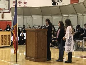 FCCLA members speaking at the program