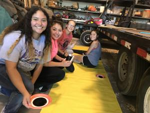 Decorating float for Maize Days 2017