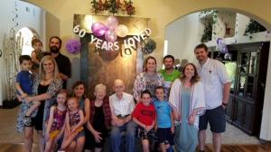 Picture of 60th Anniversary of Sarah Geries' parents with children and grandchildren