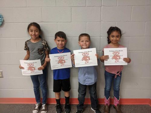 First Grade Badgers of the Month Students
