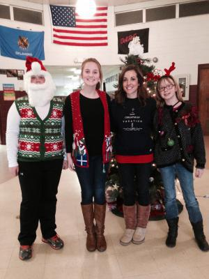 Trenton, Livvy, and Sterling on Ugly Christmas Sweater Day