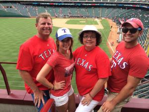 My family enjoys going to a Texas Rangers baseball game.