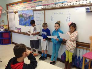 Presenting information to the class.