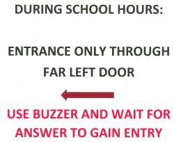 Picture pointing to the picture of the high school door buzzer