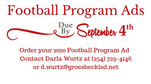 Football Program Ads Due by September 4th