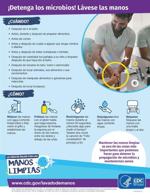 Detenga los microbios! Lavese las manos