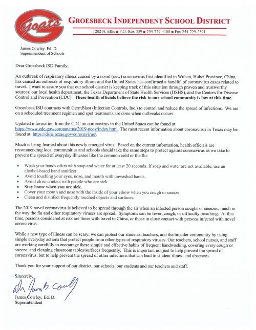 Letter from Groesbeck ISD