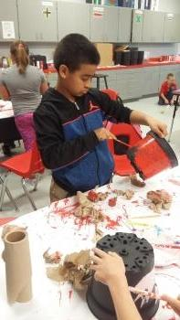Every student had the chance to paint their own flower pot.