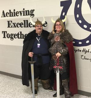 2016-17 Dressed as Vikings for the study of Beowulf.
