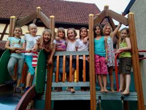 Right before we left Mürsbach, all of our friends and their children came to Sonnenbrau, the local biergarten, to celebrate with us and wish us luck.  In Germany, biergartens are restaurants and gathering places for locals.  Ours had a playground and san