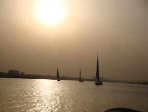 One evening, we rented a boat called a felucca, and had dinner on the Nile.  It was beautiful, but the Nile in Cairo is full of trash.
