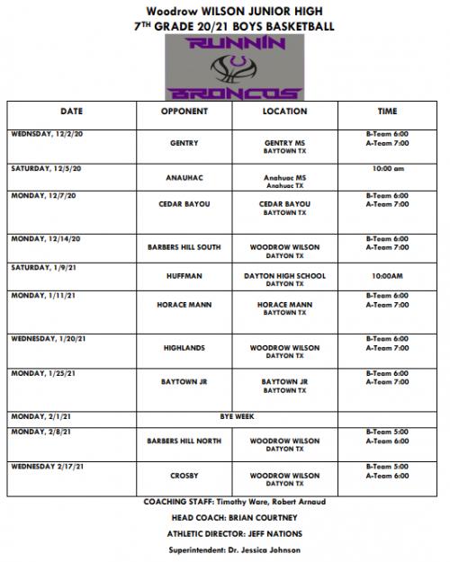 7th Grade Basketball Schedule