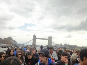 London Tower Bridge and some students