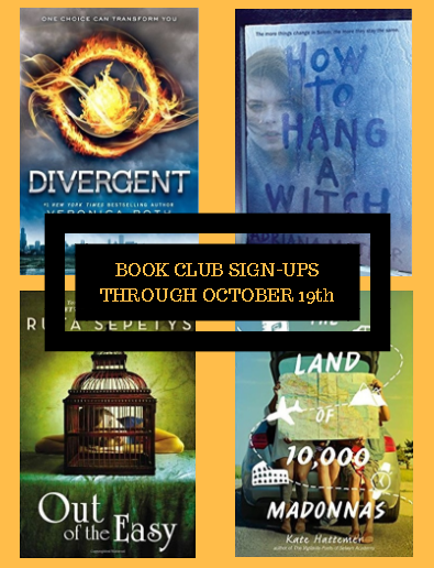 JHS library book club sign-ups on Wednesday September 19, 2018.