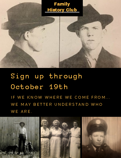 NextGen family history research club sign-ups through October 19th!