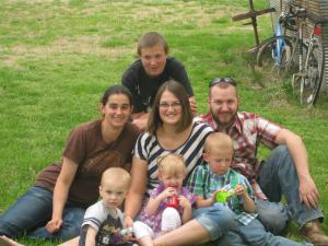 From left to right bottom row first. My nephew Ridge, my daughter Harleigh, my son Kamron. Middle Row, my sister Holly, Myself, my husband Kaleb. Top person, my brother Peper.