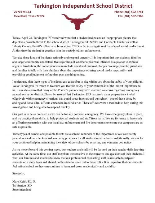 TISD Social Media Threat Statement