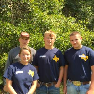 The Wildlife Team consisting of Madison Godkin, Brandon Haltom, Nathan Greak and Jerritt Whitmire is advancing to the Regional competition at SFA on November 2nd.  They placed second at the SWCD wildlife competition in Kountze, Texas for Liberty County.