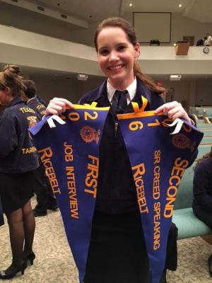 Ellie Rau placed 1st in Job Interview, 2nd in Sr. Creed, and she advanced to Area