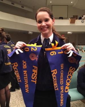 Ellie Rau placed 1st in Job Interview, 2nd in Sr. Creed and she advanced to Area in both