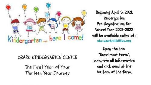 Kindergarten Registration info. Click for readable file.
