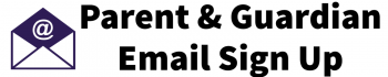 Email icon and parent and guardian email sign up