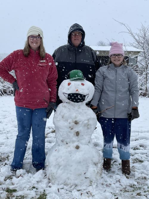 Superintendent with Daughters in the snow